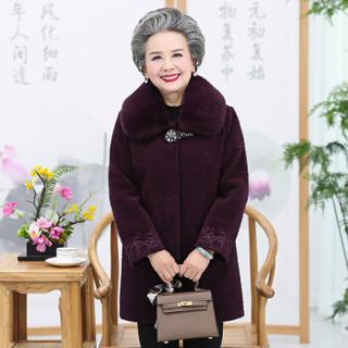 俞兆林 2019秋冬可拆卸毛领中老年加厚呢外套妈妈装外套奶奶装YTDY198106紫色3XL