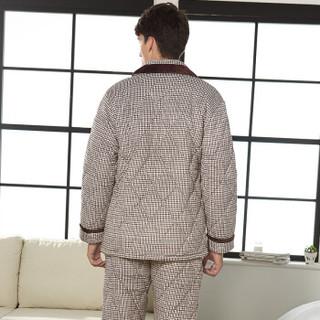 芬腾 睡衣男三层加厚珊瑚绒夹棉家居服套装秋冬季男士加绒法兰绒棉袄开衫睡衣FT-Z3716 咖啡 XL