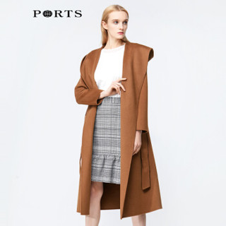 PORTS宝姿 戚薇同款 秋冬新品气质羊毛长款呢大衣外套女装YLB9C305DZW007 NAVY S