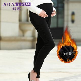 婧麒(JOYNCLEON) 孕妇打底裤可调节托腹打底裤小脚高腰孕妇装秋冬装加绒款 黑色L J238604