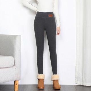 丽乔 加绒裤女显瘦2019冬季新款女装厚打底裤高腰一体裤保暖棉裤 HCXFTA650 深灰色 M