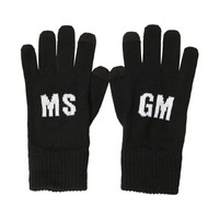 MSGM 19秋冬新款 男士黑色羊毛混纺字母印花图案针织手套 2740MN02 195574 99