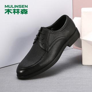 木林森(MULINSEN)英伦风商务正装鞋男鞋 经典简约头层牛皮男士皮鞋德比鞋 黑色 40码 SL97003
