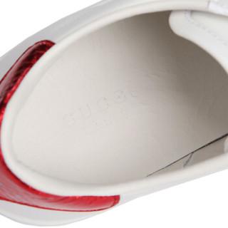 GUCCI 古驰 GUCCI女鞋 白色牛皮蜜蜂图案女士平底鞋 431942 A38G0 9064 38