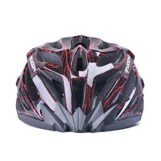 MOON MV27 骑行头盔 自行车头盔山地车头盔一体成型骑行头盔 男女款 骑行装备安全帽 龟裂红 M码