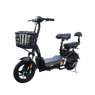 比德文电动车新国标48V锂电可拆卸电池充电电动自行车男女滑板车成人电瓶车代步车 云豆 油光黑