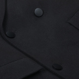 卡宾男装简约西装领纯色韩版呢大衣宽松保暖羊毛外套潮H 煤黑色01 52/180/XL