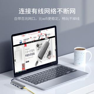 飞利浦 Type-c扩展坞 USB-C转百兆网卡网口 华为苹果电脑转换器MacBook转接头拓展坞 SWR1607SN【百兆网口+USB3.0*3】