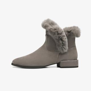 莱尔斯丹  时尚通勤圆头低跟拼接毛里女靴LS AT33602V 灰色TPS 38