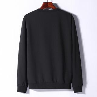 稻草人(MEXICAN)卫衣男 青少年圆领套头长袖T恤 薄款休闲上衣潮流印花打底衫 黑色 XL