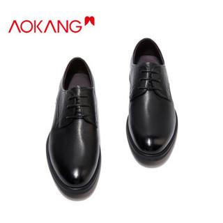 奥康(Aokang)舒适简约潮流商务职场正装系带皮鞋男T93277777黑色42码