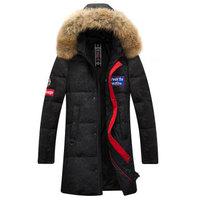 南极人男士羽绒服中长款加厚迷彩保暖连帽外套男 尺码偏大选小一码 MDY99983 黑色 170/M