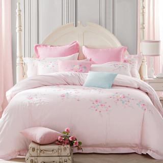 堂皇 床品家纺 纯棉绣花四件套全棉柔软床单被罩 锦程 粉色 1.8米床 220*240cm