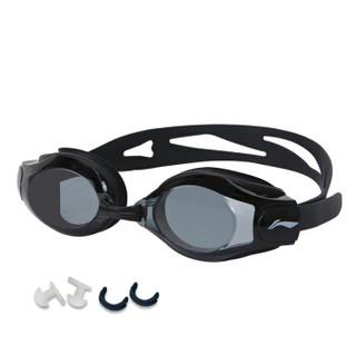 李宁 LI-NING 泳镜 高清防雾防水眼镜男士女士游泳镜 LSJK508-1黑色