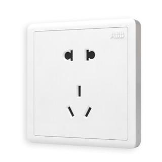 ABB开关插座面板 86型大间距10A五孔插座二位二三极插座十只装 远致系列 白色 AO205*10