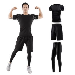 范迪慕 运动套装男士健身服紧身速干透气吸湿排汗跑步篮球套装健身衣男 FNZ9001-黑色拼线-短袖三件套-L