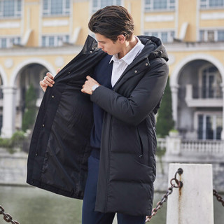 坦博尔2019新款羽绒服男中长款加厚90%鸭绒时尚休闲连帽男士外套TF19179 黑色 175/92A