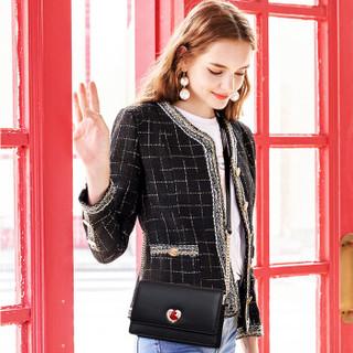 欧时纳(JUST STAR)女包时尚单肩包包韩版休闲小清新斜挎包女简约小方包 214子夜黑大版