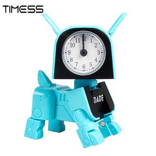 Timess 闹钟创意 学生儿童电子钟卡通钟玩具可变形萌狗DIY闹钟床头桌面钟电子BB声512-3蓝色