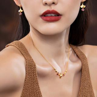 六福珠宝 足金银杏叶渐变珐琅黄金项链女款套链含吊坠 计价 GDG30068 约6.12克