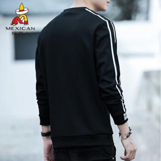 稻草人(MEXICAN)卫衣男 青少年圆领套头长袖T恤 薄款休闲上衣男装打底衫 6810 黑色 XL