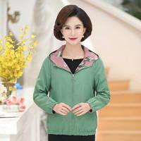 俞兆林 2019秋季新款妈妈夹克短款外套薄款中老年女士洋气连帽上衣两面穿YTWT197415绿色2XL