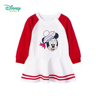迪士尼(Disney)童装女童裙子2019春秋新款米老鼠长袖连衣裙公主裙193Q690大红3岁/身高100cm