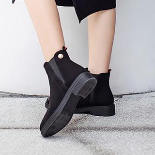 毅雅(yiya)女靴时尚小圆头金属珍珠装饰简约V型松紧口中粗跟短靴女 黑色单里 40