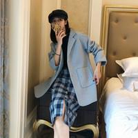 Markentsee 2019秋季新品毛呢大衣女装西装毛呢外套大口袋宽松翻领显瘦长袖上衣 YJC902A-6009 蓝色 S