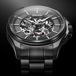 依波(EBOHR)手表 探索者系列2019新款潮流炫黑全镂空男士钟表防水黑色钢带机械手表51280215