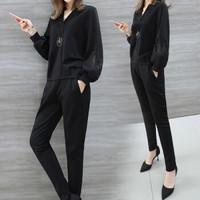 堡晟 2019秋季新款女装新品休闲裤女时尚套装女韩版显瘦减龄两件套 zx5359-8013 黑色9512 XL