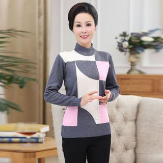 俞兆林 2019秋季新款中年女装格子毛衣中老年妈妈装半高领套头针织衫上衣YTZZ197233灰色均码