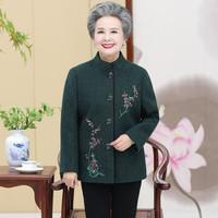 俞兆林 2019秋季新款中老年毛呢外套妈妈外套奶奶老年人大码上衣YTWT197502墨绿色2XL