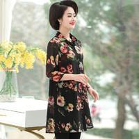 仙丫 2019秋季新款女装新品中老年女装雪纺衫40岁洋气五十岁上衣 WLPMM62301 黑色 3XL