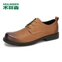 木林森(MULINSEN)男鞋英伦休闲鞋正装牛皮鞋子低帮系带皮鞋 土黄 40码 SL97309