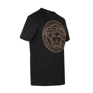 VERSACE 范思哲 奢侈品 19秋冬新款 男士黑色棉质铆钉美杜莎头像短袖T恤 A77987 A201952 A008 M码