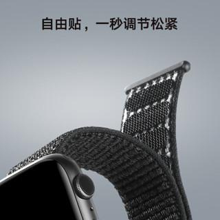毕亚兹 苹果手表表带 iwatch表带魔术贴尼龙回环表带 Apple Watch Series 5/4/3/2/1代通用 38/40mm BD9黑色