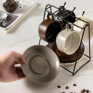 美厨(maxcook)陶瓷杯咖啡杯碟子杯架8件套装 茶杯水杯马克杯茶具碟子带支架欧式套装MCB055
