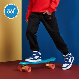 361° 361度男童针织加厚保暖长裤加绒休闲运动裤冬季 N51842565 碳黑 150