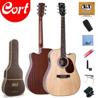 考特(CORT)MR600F京东特供限量版 单板电箱民谣吉他41英寸初学者缺角原木色吉他