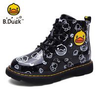 小黄鸭(B.Duck)童鞋男女童靴子 冬季新款儿童保暖女孩休闲马丁靴 B8596001黑色34