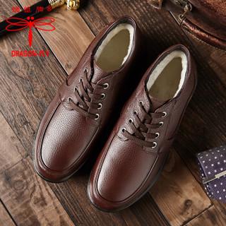 蜻蜓牌男士冬季加绒保暖棉皮鞋 8812 棕色 40码