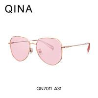 亓那QINA太阳镜女不规则多边形眼镜2019年新款透色墨镜QN7011 A31玫瑰金色框透粉色片