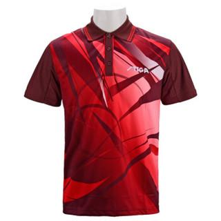斯帝卡STIGA斯蒂卡 乒乓球服套装男款女 吸汗速干乒乓球上衣 CA-23141 酒红 M