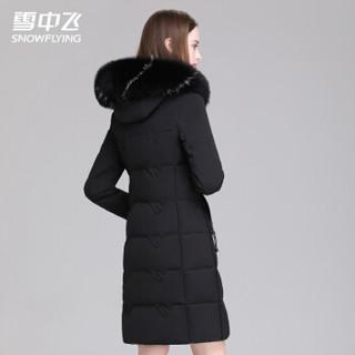 雪中飞2019新款羽绒服女中长款新款韩版潮加厚时尚修身大码长款过膝X90141808F黑色XL