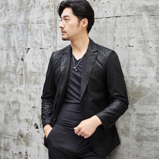 比菲力翻领海宁真皮皮衣男皮西装领男士皮衣2019新款韩版潮 黑色 2XL