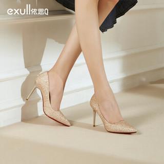 依思q(exull) 网红时尚尖头格利特浅口细高跟鞋女T9170002 金色 39