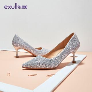 依思q(exull) 网红时尚尖头格利特酒杯细高跟单鞋女T9170015 银色 37