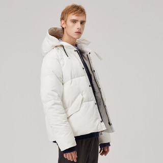 MARKLESS 羽绒服男90%白鸭绒羽绒服加厚连帽保暖外套青年YRA8304M藏青色M/L