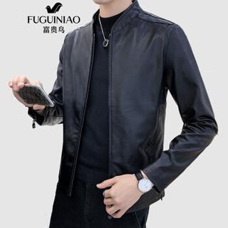 富贵鸟(FUGUINIAO)皮衣男2019秋装新款休闲修身皮夹克男韩版时尚立领上衣外套 黑色 M